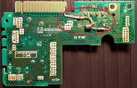 Red oval above shows the circuit trace side of the controller board with the by-pass circuit in place
